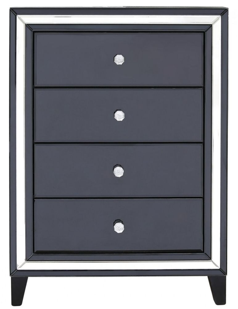 Montague Black Mirrored 4 Drawer Cabinet