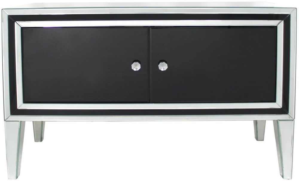 Black Montague Mirrored 2 Door Cabinet