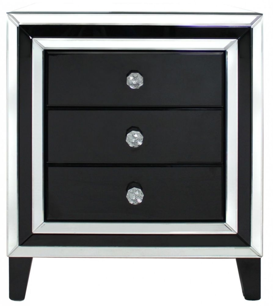 Montague Black Mirrored Bedside Cabinet - 3 Drawer