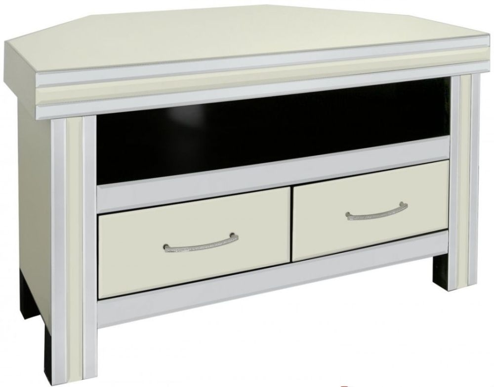 Buy montague cream mirrored entertainment unit 2 drawer for Mirrored drawer unit