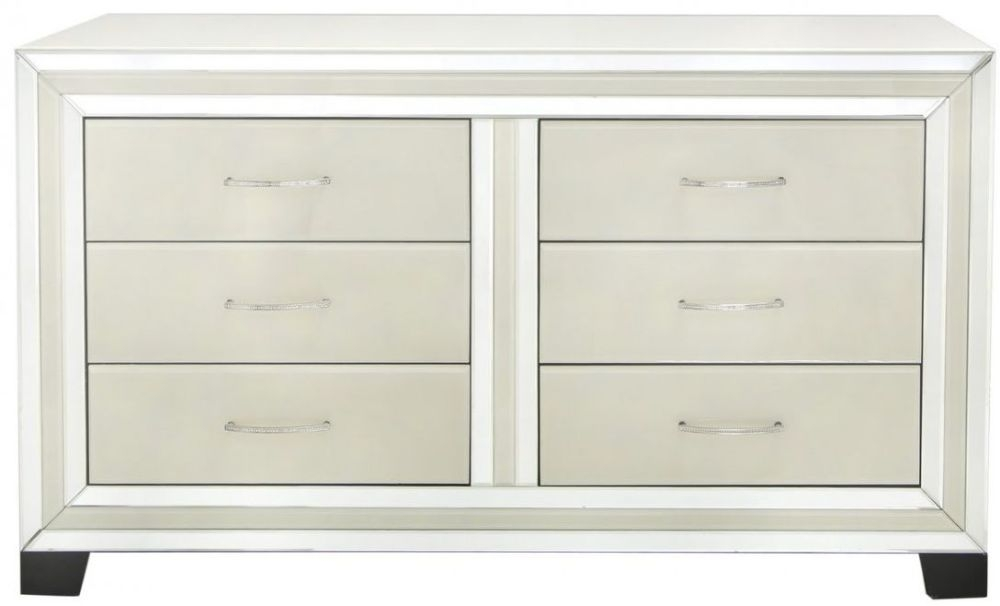 Montague Cream Mirrored 6 Drawer Cabinet
