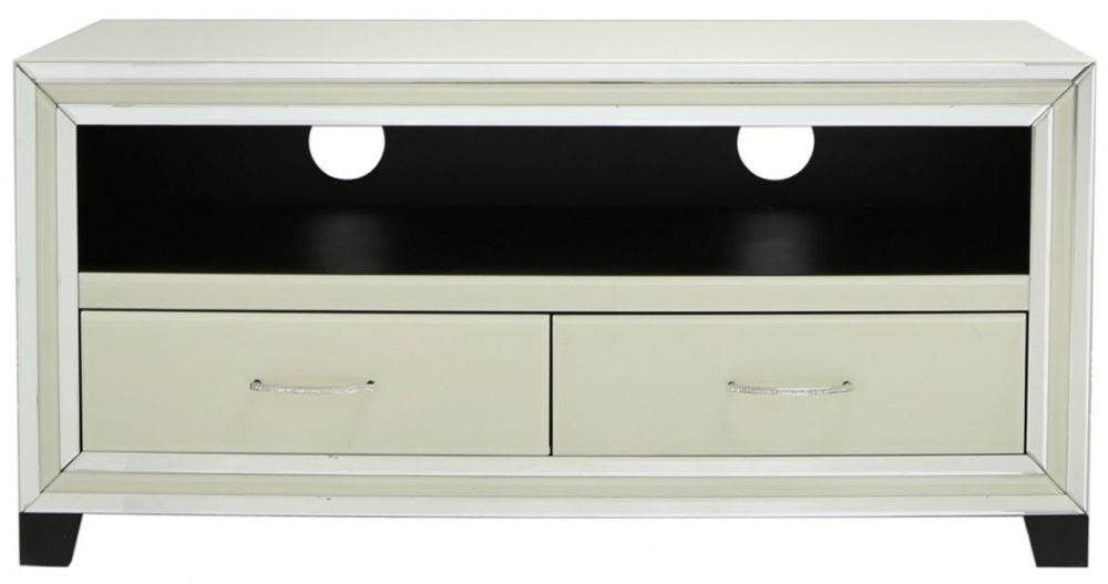 Montague Cream Mirrored Entertainment Unit - 2 Drawer