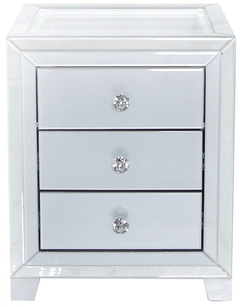 Montague Grey Mirrored Bedside Cabinet with Glass Top