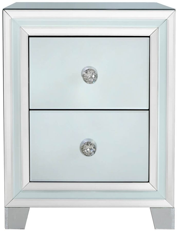Montague Grey Mirrored 2 Drawer Bedside Cabinet