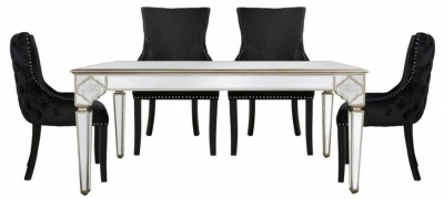 Morocco Mirrored Dining Table and 4 Geismar Black Chairs