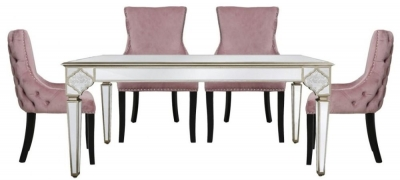 Morocco Mirrored Dining Table and 4 Geismar Pink Chairs