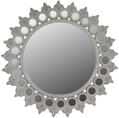 Morocco White Sunburst Wall Mirror - Dia 112cm