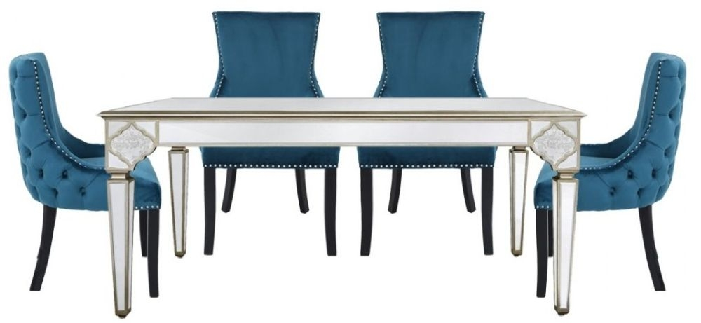 Morocco Mirrored Dining Table and 4 Geismar Green Chairs