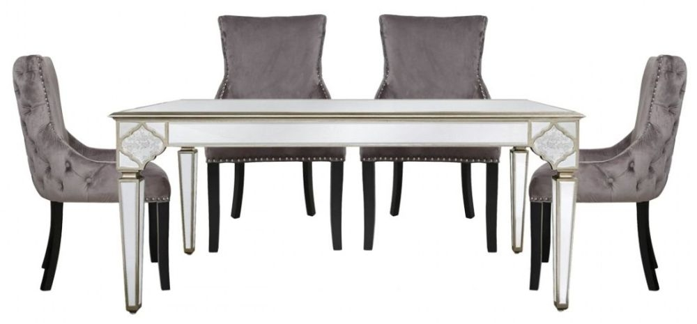 Morocco Mirrored Dining Table and 4 Geismar Grey Chairs