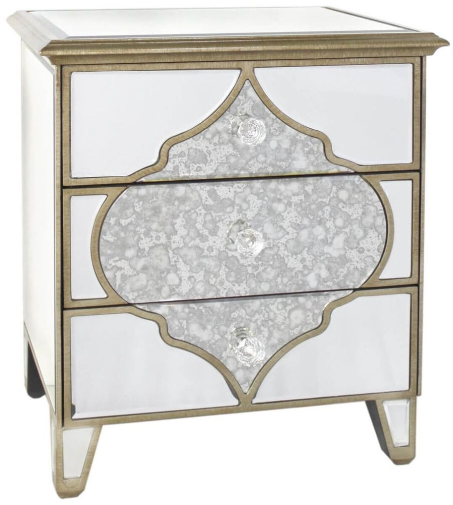 Morocco Antique Mirrored 3 Drawer Bedside Cabinet