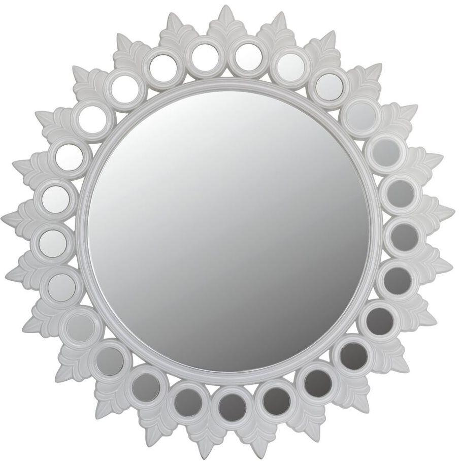 Morocco Glossy White Sunburst Wall Mirror