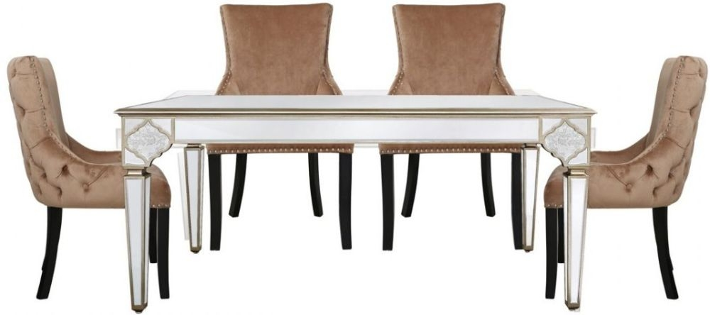Morocco Mirrored Dining Table and 4 Champagne Faux Velvet Chairs
