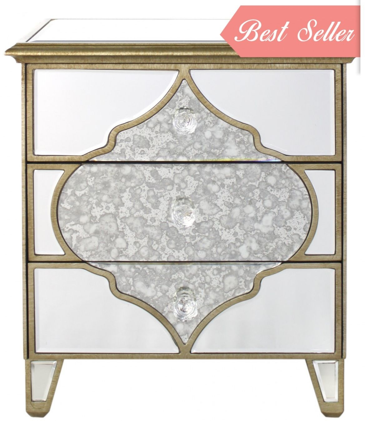 Morocco Antique Mirrored Cabinet - 3 Drawer