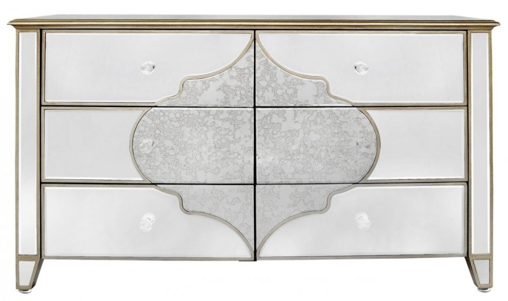 Morocco Mirrored 6 Drawer Cabinet
