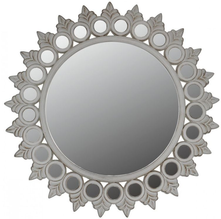 Morocco White Antique Sunburst Wall Mirror