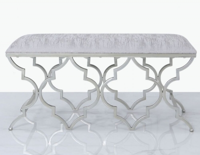 Morocco Silver Mirrored Bench