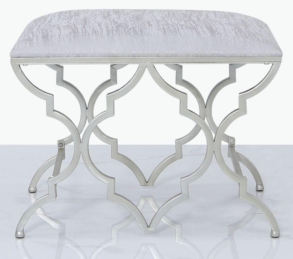 Morocco Silver Mirrored Bedroom Stool