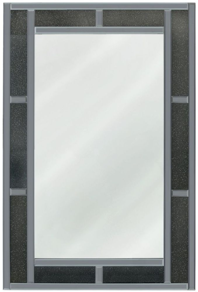 Naro Smoked Crystal Brick Effect Wall Mirror