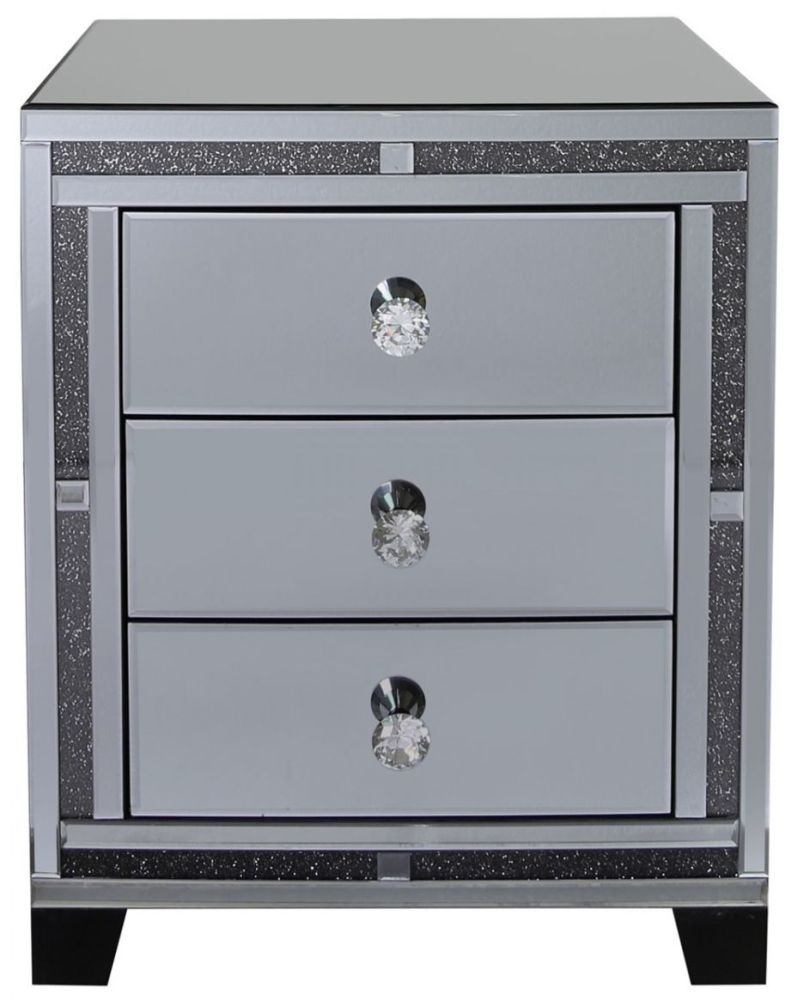 Naro Smoked Mirrored 3 Drawer Bedside Cabinet