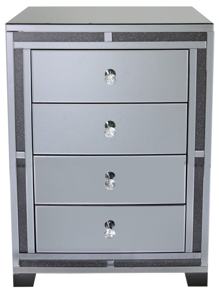 Naro Smoked Mirrored Chest of Drawer - 4 Drawer
