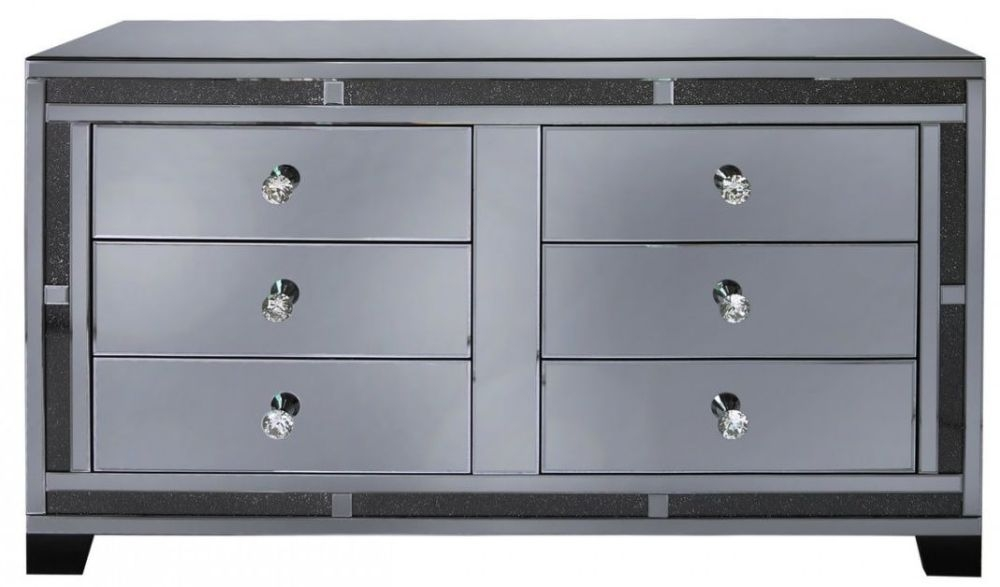 Naro Smoked Mirrored 6 Drawer Cabinet