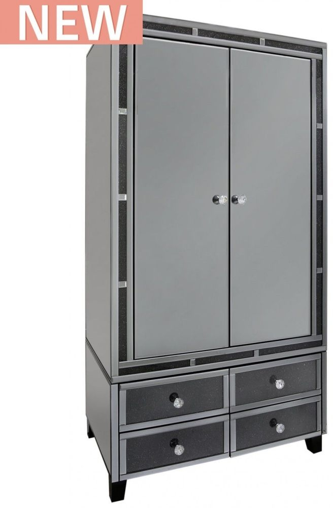 Naro Smoked Mirrored 2 Door 4 Drawer Double Wardrobe