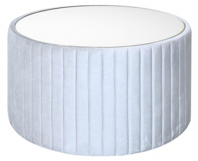 Ontario Silver Tufted Round Coffee Table