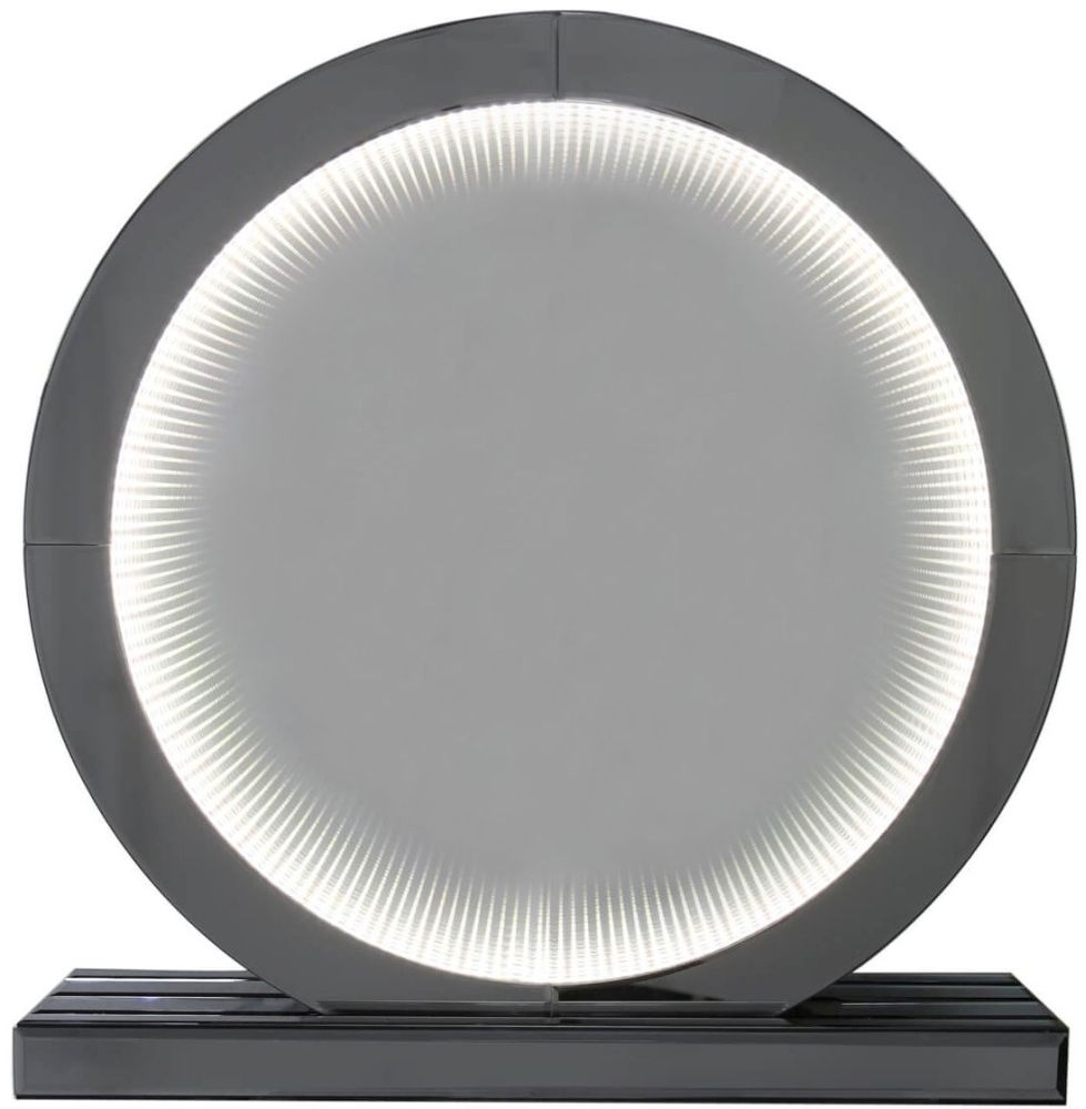 Orbit Smoked Mirrored Medium Round Table Lamp