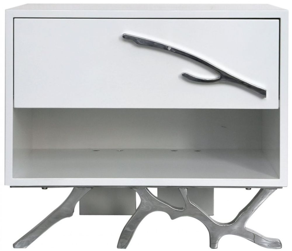 Palermo White Stainless Steel Bedside Cabinet - 1 Drawer