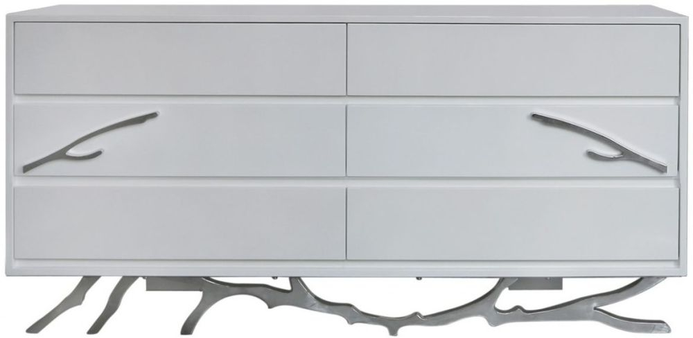 Palermo White Stainless Steel 6 Drawer Chest