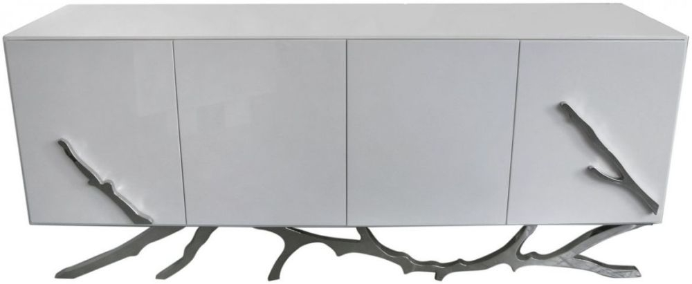 Palermo White Stainless Steel Sideboard - 4 Door