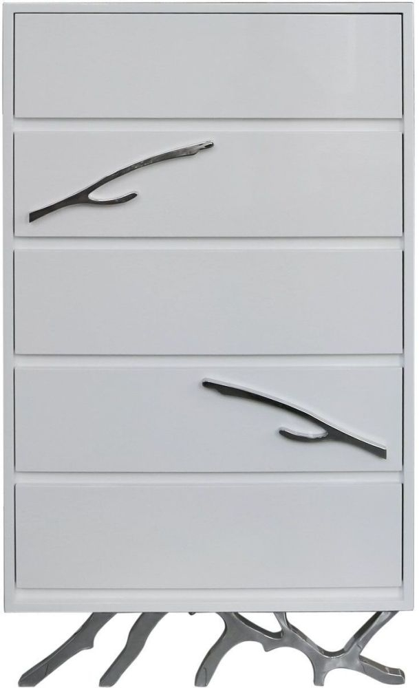 Palermo White Stainless Steel 5 Drawer Tall Chest