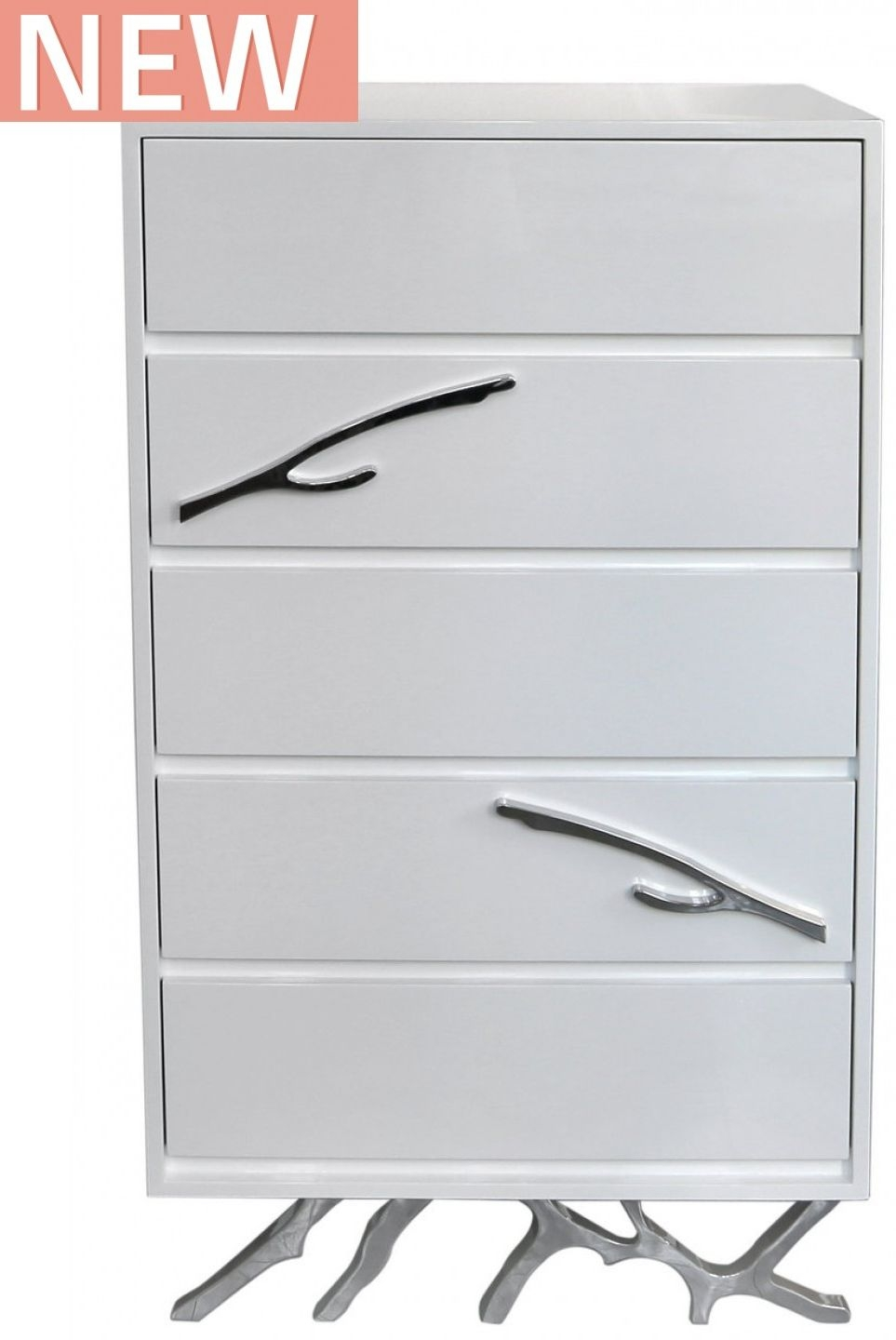 Palermo White Stainless Steel Chest of Drawer - Tall 5 Drawer