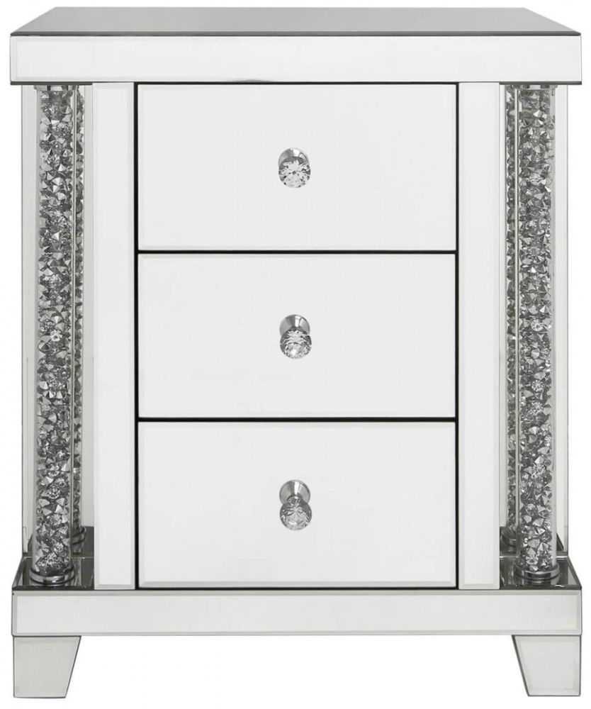 Palma Mirrored Bedside Cabinet - 3 Drawer