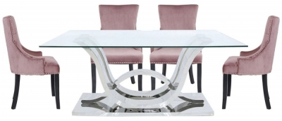 Pineville Dining Table and 6 Geismar Pink Chairs - Glass and Chrome