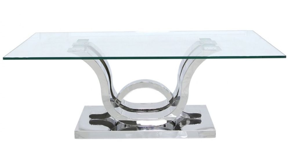 Pineville Coffee Table - Glass and Chrome