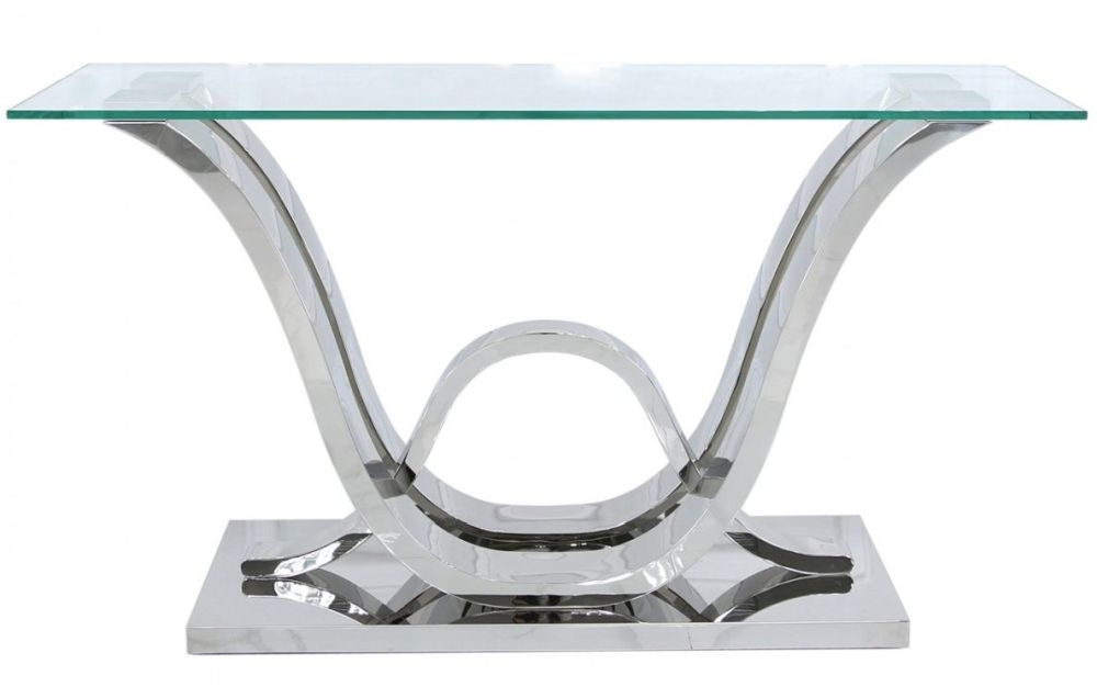 Pineville Glass and Chrome Console Table