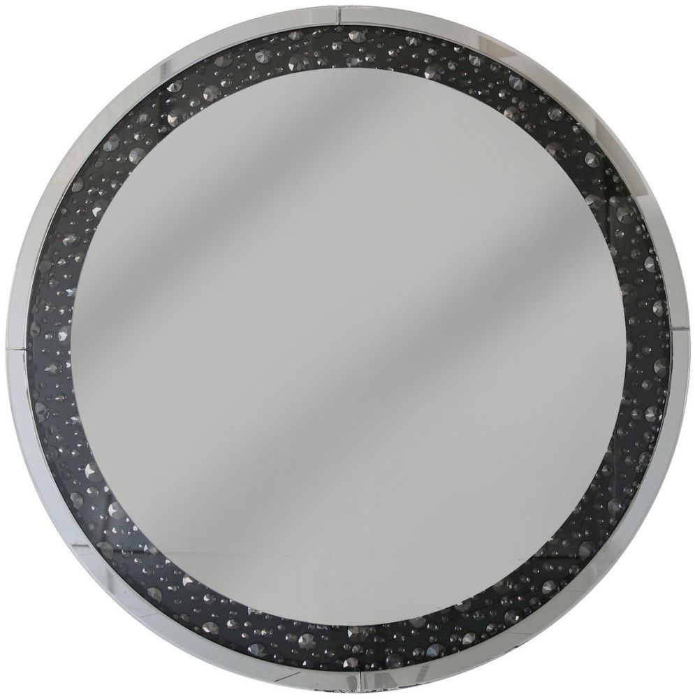 Porto Black Gem Round Wall Mirror - 100cm x 4.3cm