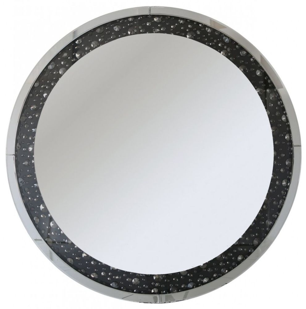 Porto Black Gem Wall Mirror - Round