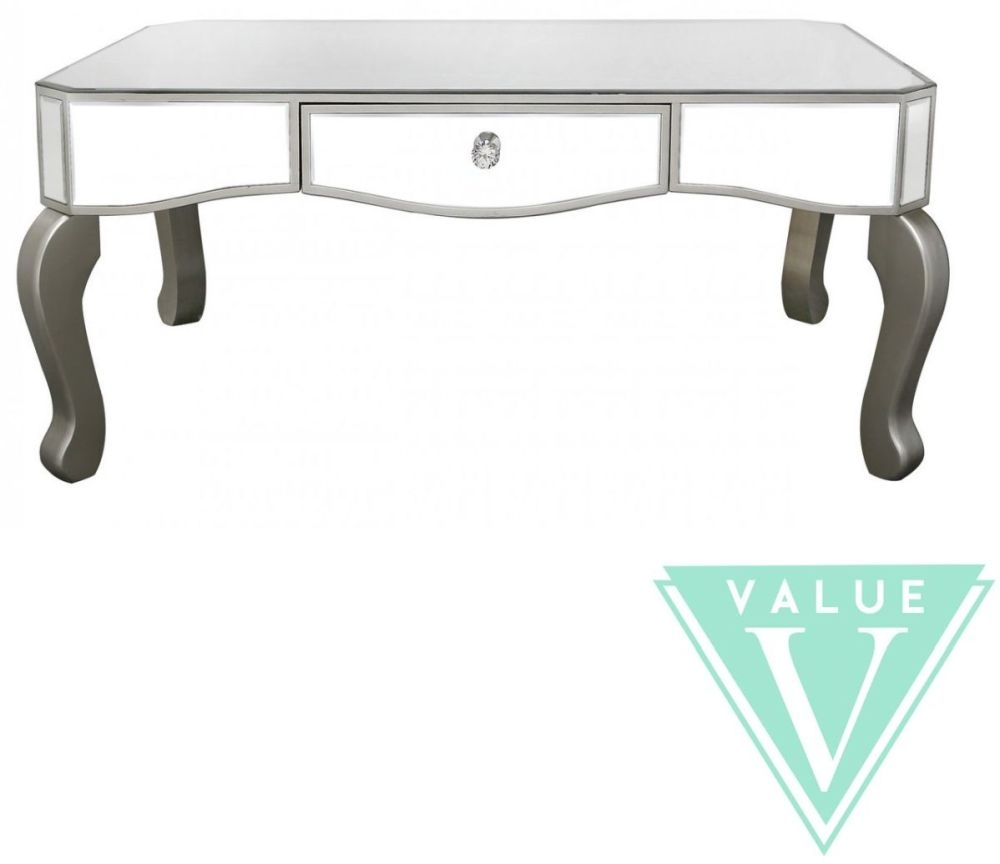 Ravena Value Mirrored Coffee Table with Champagne Trim and Crystal Handle - 1 Drawer