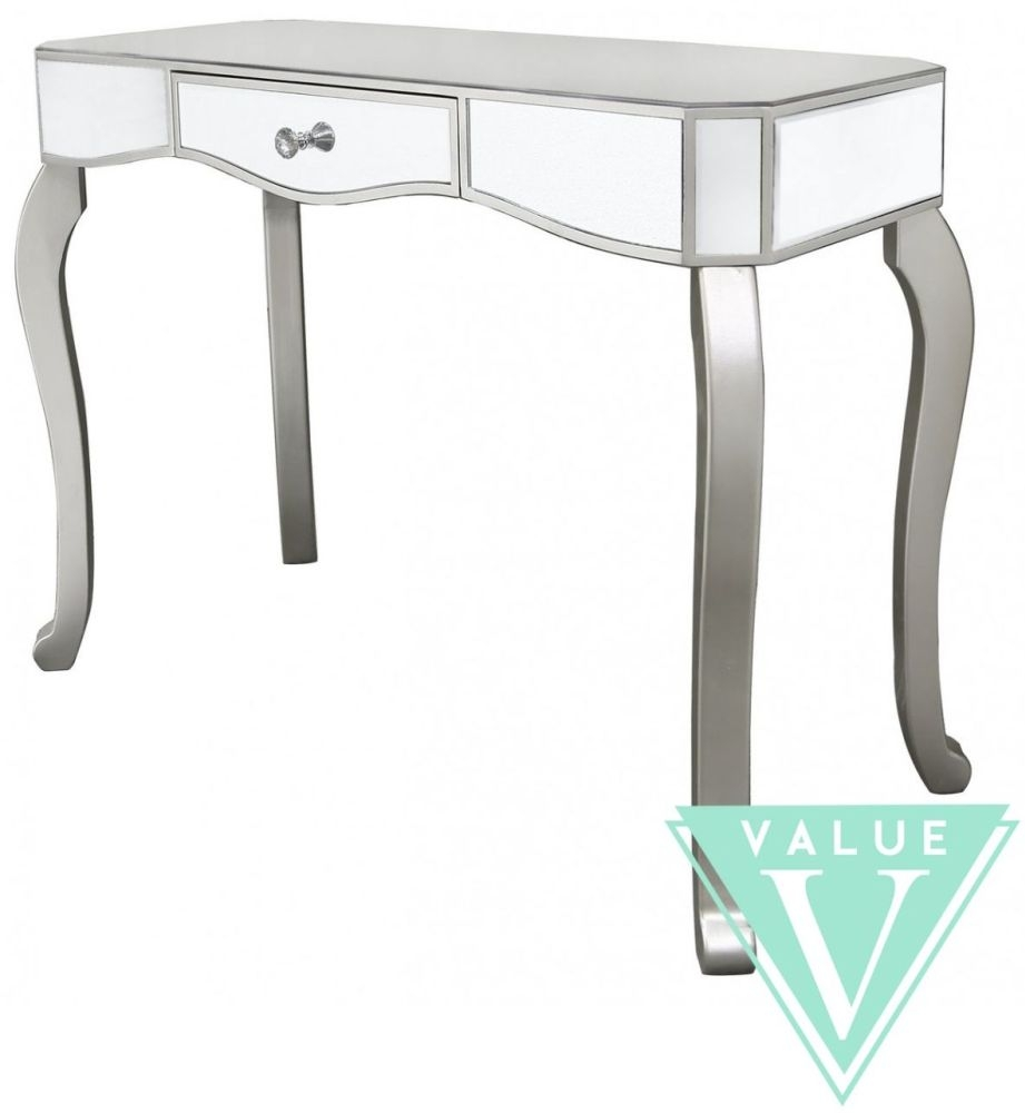 mirror console table. Ravena Value Mirrored Console Table With Champagne Trim And Crystal Handle - 1 Drawer Mirror