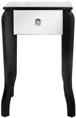 Ribera Mirrored Black Trim Small Lamp Table