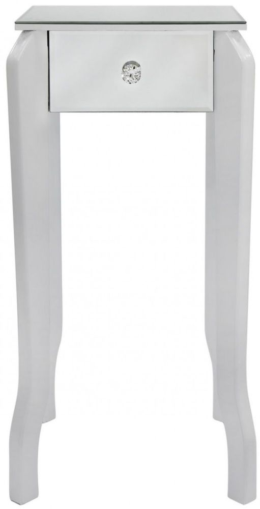 Ribera White Mirrored Lamp Table