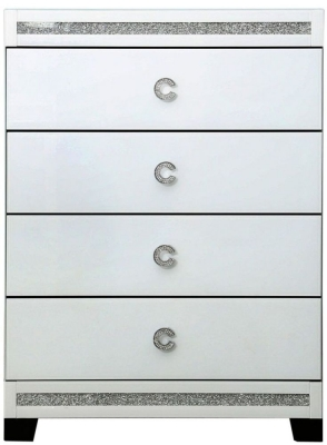 Rocca White Mirrored 4 Drawer Chest