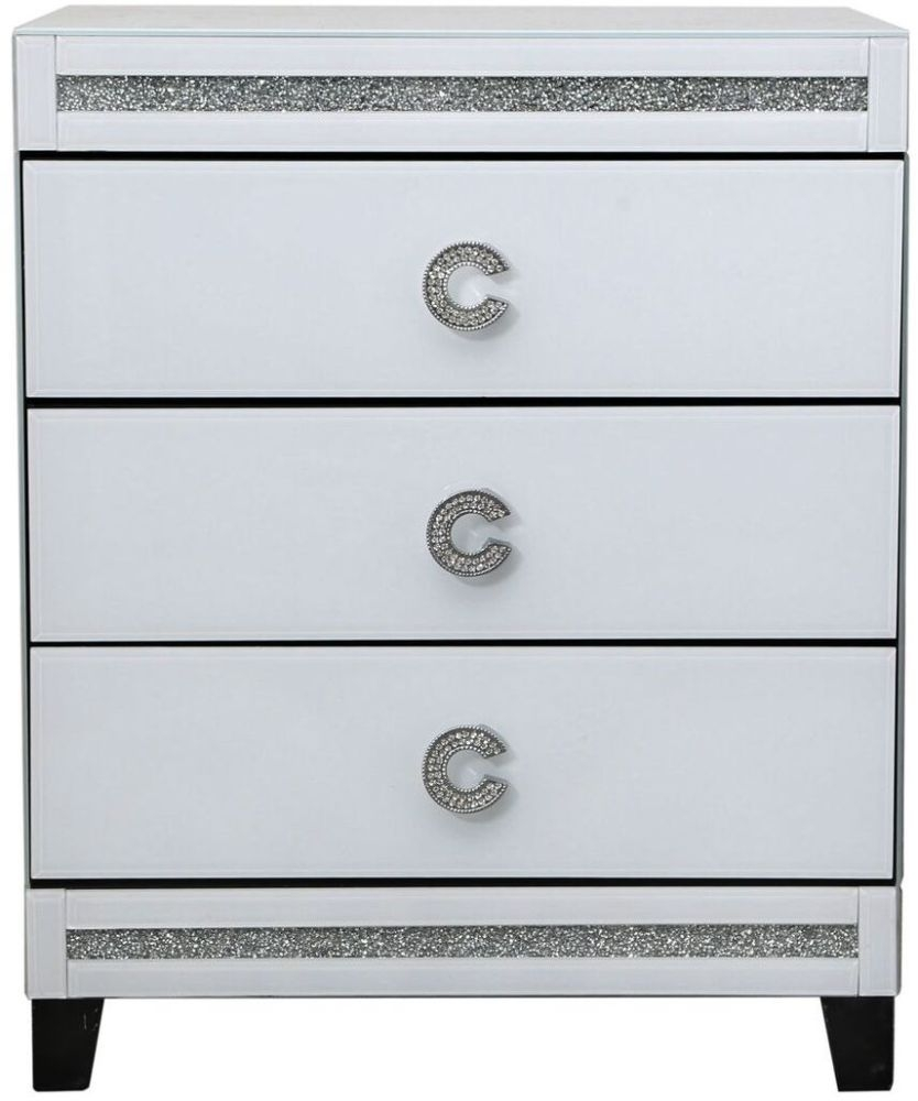 Rocca White Mirrored 3 Drawer Bedside Cabinet