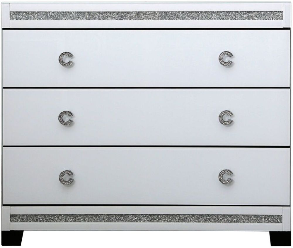 Rocca White Mirrored 3 Drawer Chest
