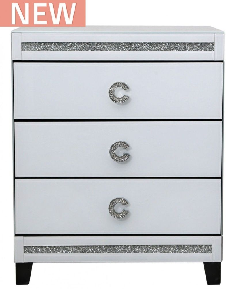 Rocca White Mirrored Bedside Cabinet - 3 Drawer