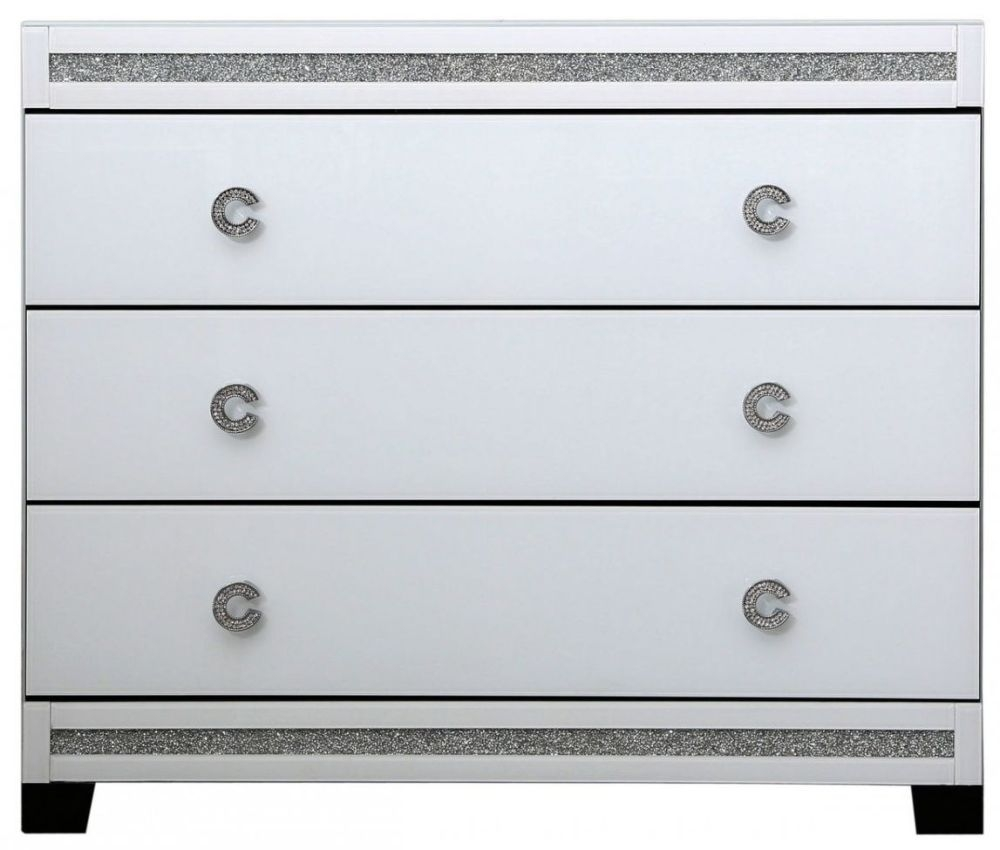Rocca White Mirrored Chest of Drawer - 3 Drawer
