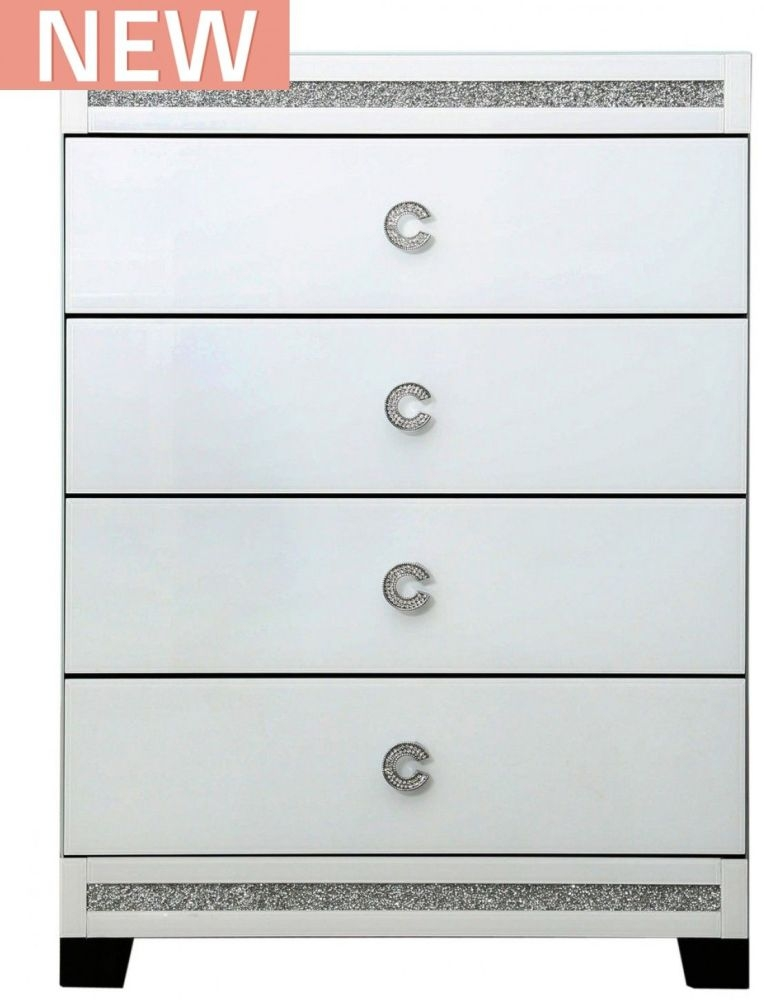 Rocca White Mirrored Chest of Drawer - 4 Drawer