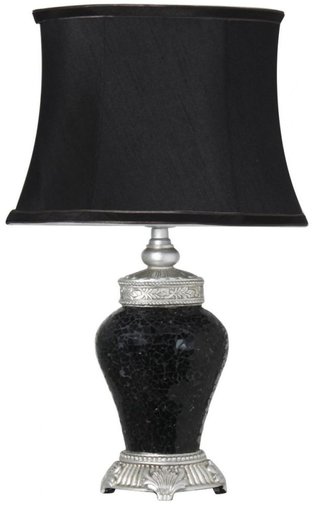 Rogue Black Sparkle Mosaic Antique Silver Lamp With Silver